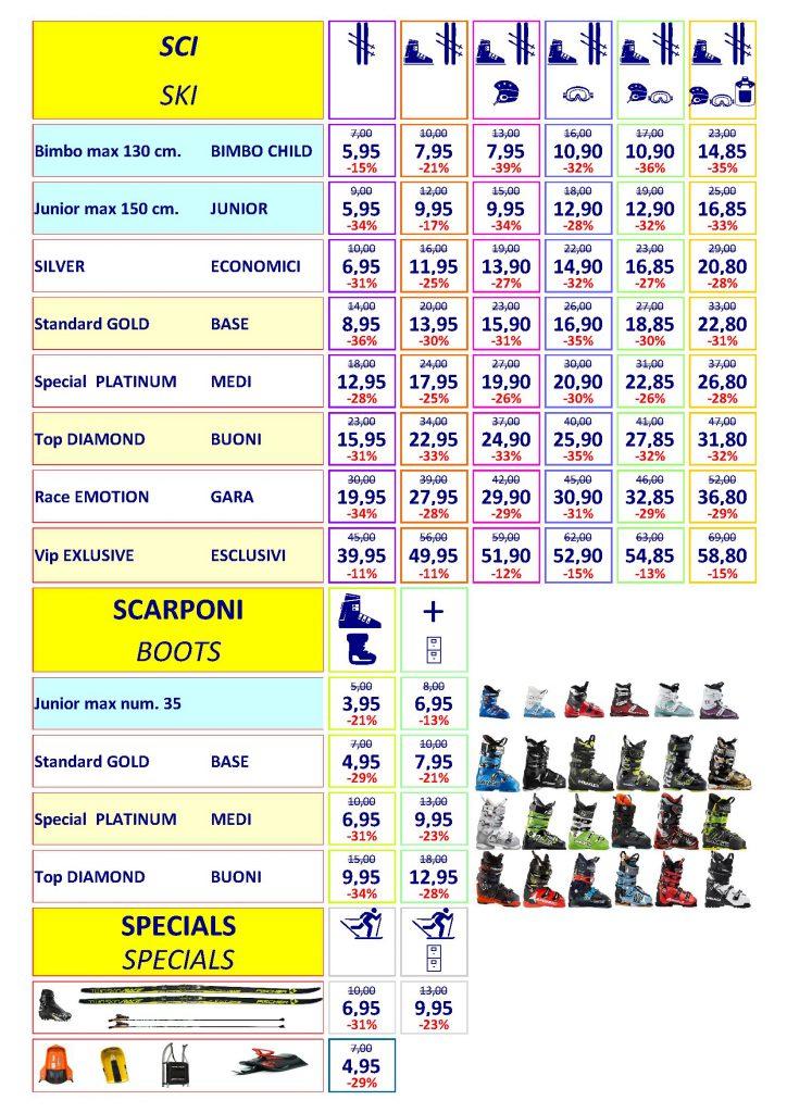 Price list ski rental